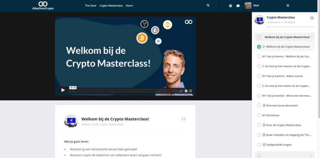 welkom crypto masterclass